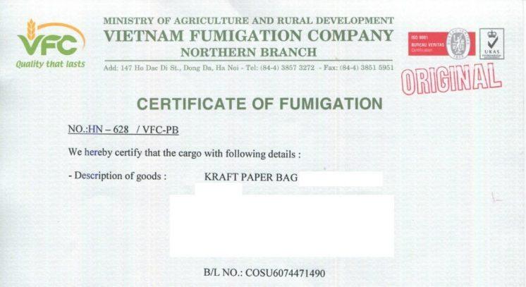 Tìm hiểu giấy chứng nhận hun trùng – Certificate of Fumigation