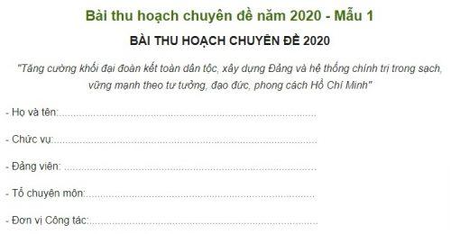 [Trọn bộ] Bài thu hoạch chuyên đề 2020 đầy đủ nhất hiện nay