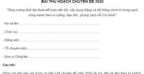Bài thu hoạch chuyên đề 2020 của giáo viên chi tiết nhất
